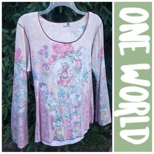 One World Long Sleeve Floral Boho Bling Comfy Top